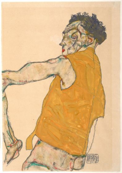 Schiele, Egon: Self-Portrait in Yellow Vest, 1914. Fine Art Print/Poster. Sizes: A4/A3/A2/A1 (003714)